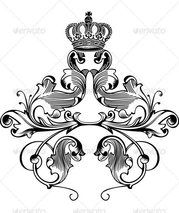 590x700 One Color Retro Elegant Royal Crown Curves By Azr Graphicriver