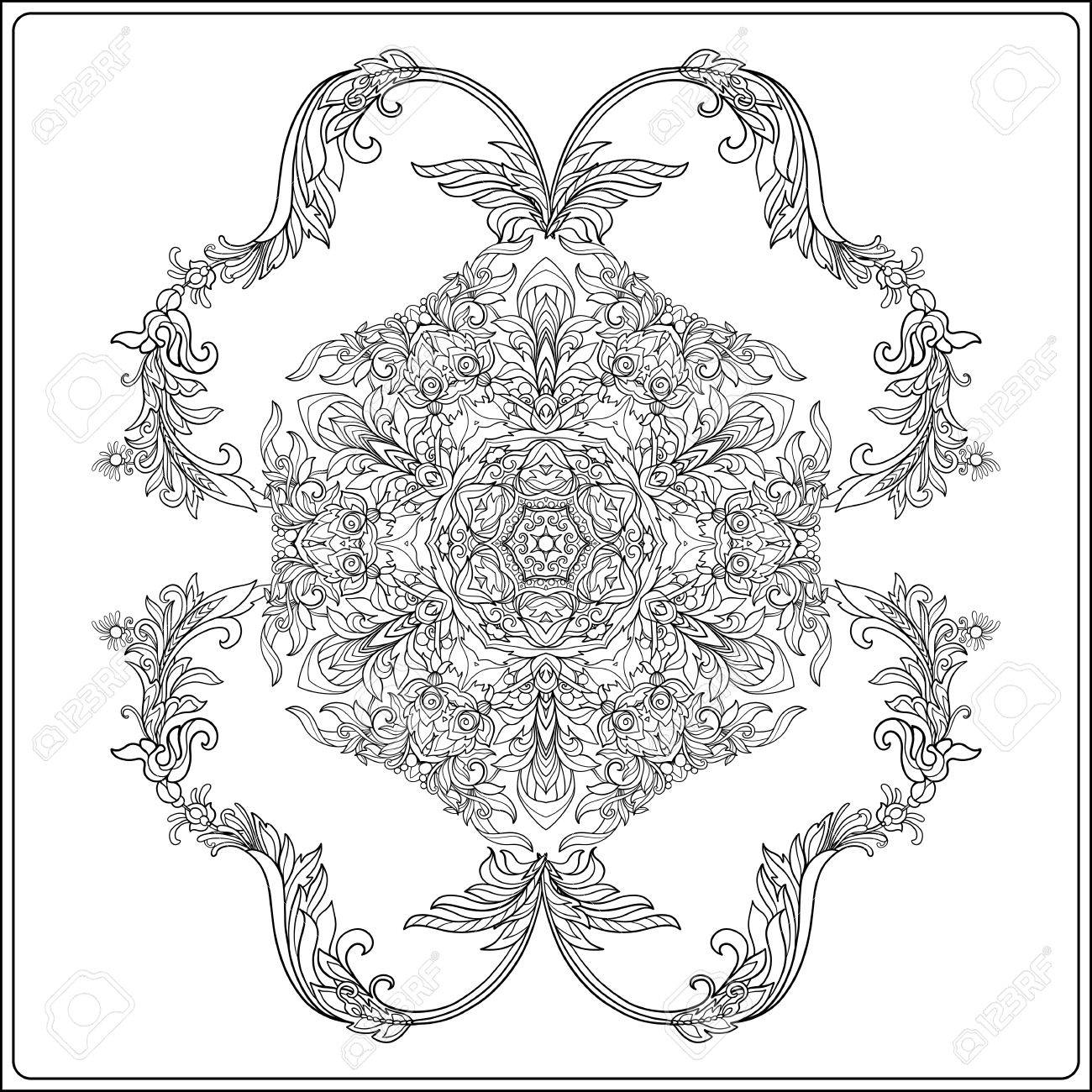1300x1300 Medieval Floral Royal Pattern. Decorative Symmetry Arabesque