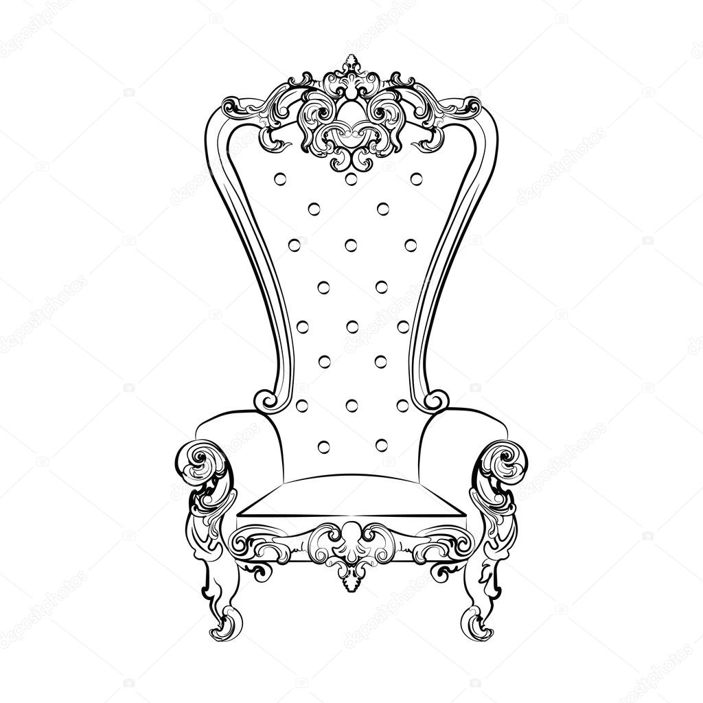 1024x1024 Baroque Royal Armchair Stock Vector