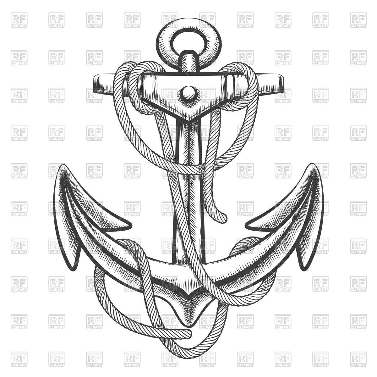 1200x1200 Hand Drawn Anchor With Rope Royalty Free Vector Clip Art Image