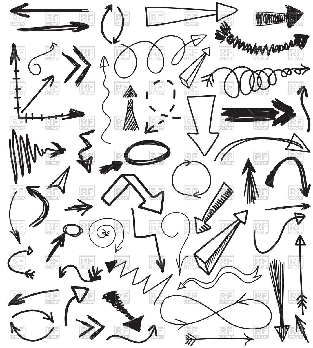 1080x1200 Hand Drawn Sketchy Arrows Royalty Free Vector Clip Art Image