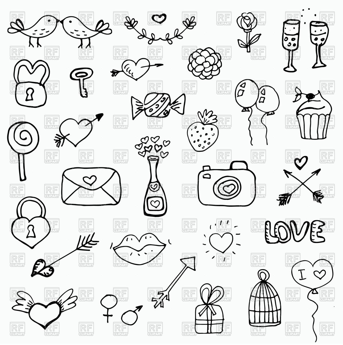 1196x1200 Hand Drawn Sketchy Style Icons