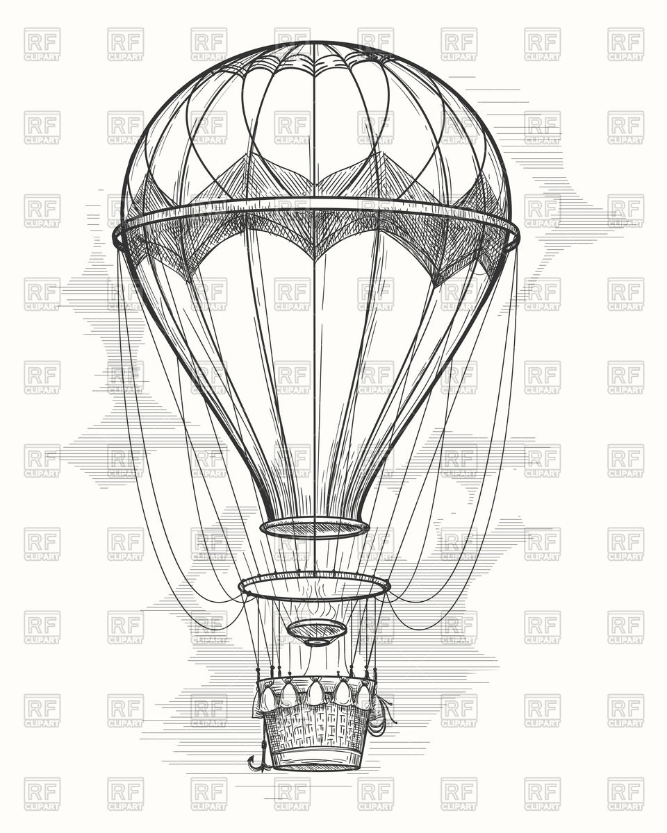960x1200 Retro Hand Drawing Hot Air Balloon Royalty Free Vector Clip Art