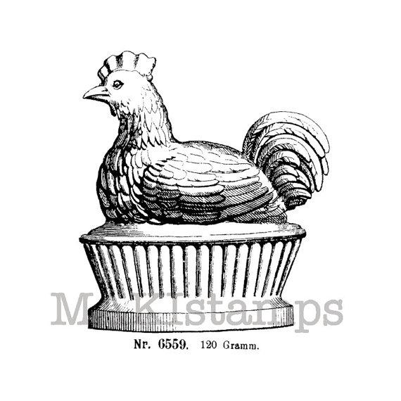 570x570 Chicken Stamp Chicken On A Pedestal Unmounted Rubber Stamp