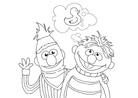 480x339 Bert, Ernie And Rubber Duckie Coloring Page Free Printable