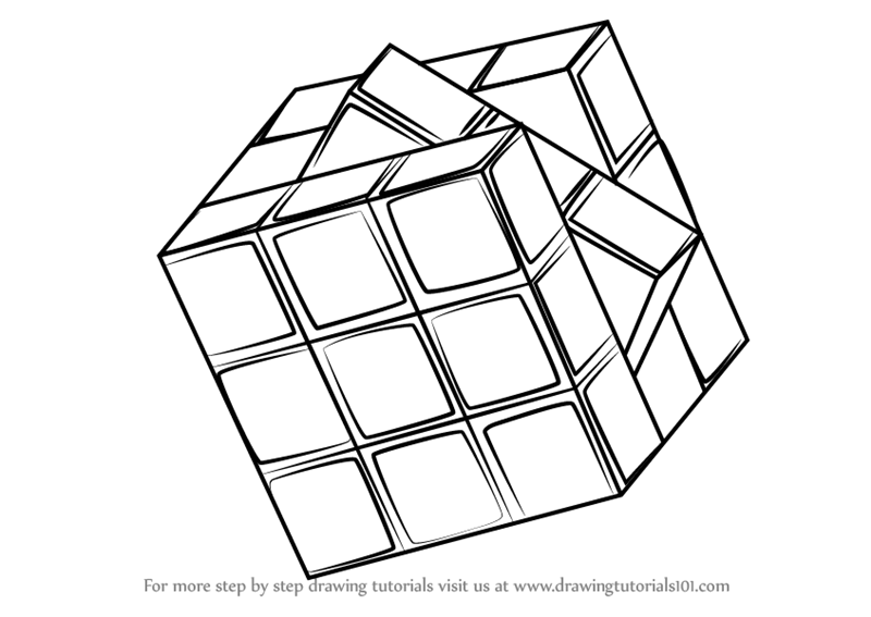 800x567 Learn How To Draw Rubik's Cube (Everyday Objects) Step By Step