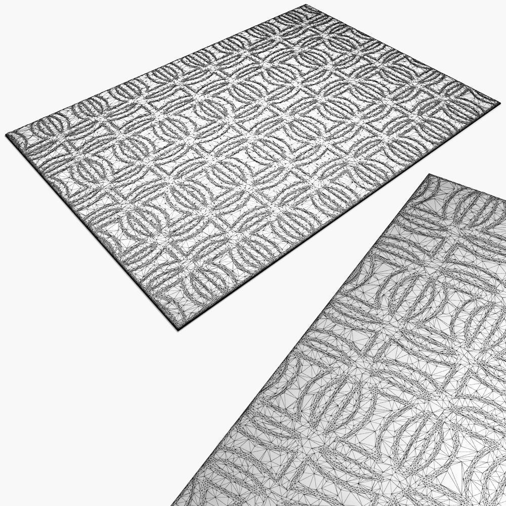 1000x1000 Carpet Suzanne Sharp Sellarsbrook Blue Rug 3d Model Max Obj Fbx