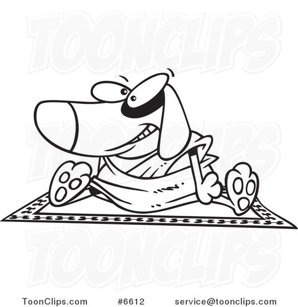 581x600 Cartoon Blacknd White Line Drawing Of Doggie Lama Sitting On