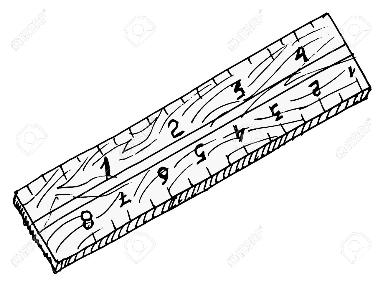 1300x974 Hand Drawn, Vector, Sketch Illustration Of Wooden Ruler Royalty