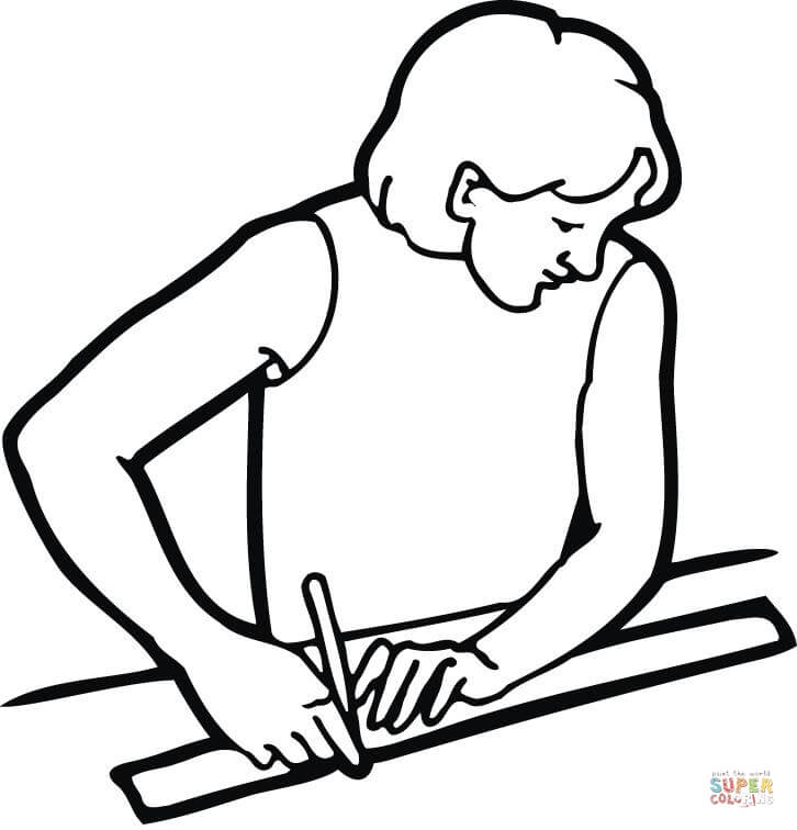 726x756 Male Student With A Ruler Coloring Page Free Printable Coloring