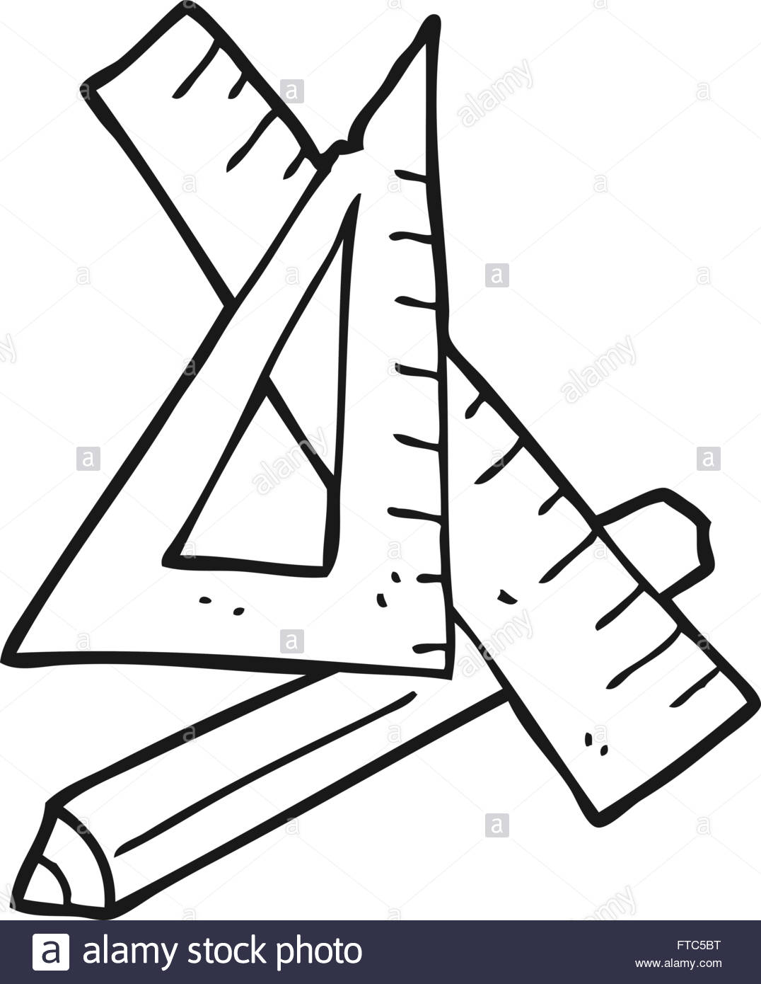 1076x1390 Freehand Drawn Black And White Cartoon Pencil And Ruler Stock