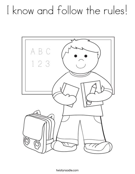 468x605 I Know And Follow The Rules Coloring Page