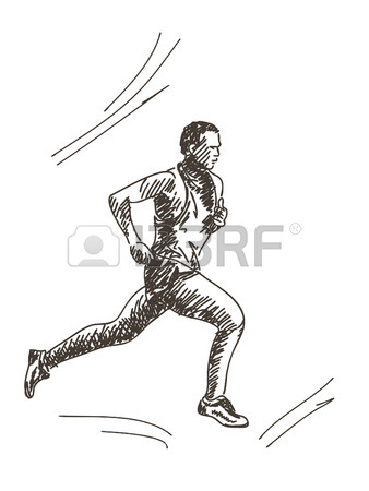 338x450 Drawing Of Two Stylized Sprinters Or Runners. Royalty Free