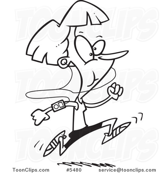 581x600 Cartoon Black And White Line Drawing Of A Runner With An Mp3