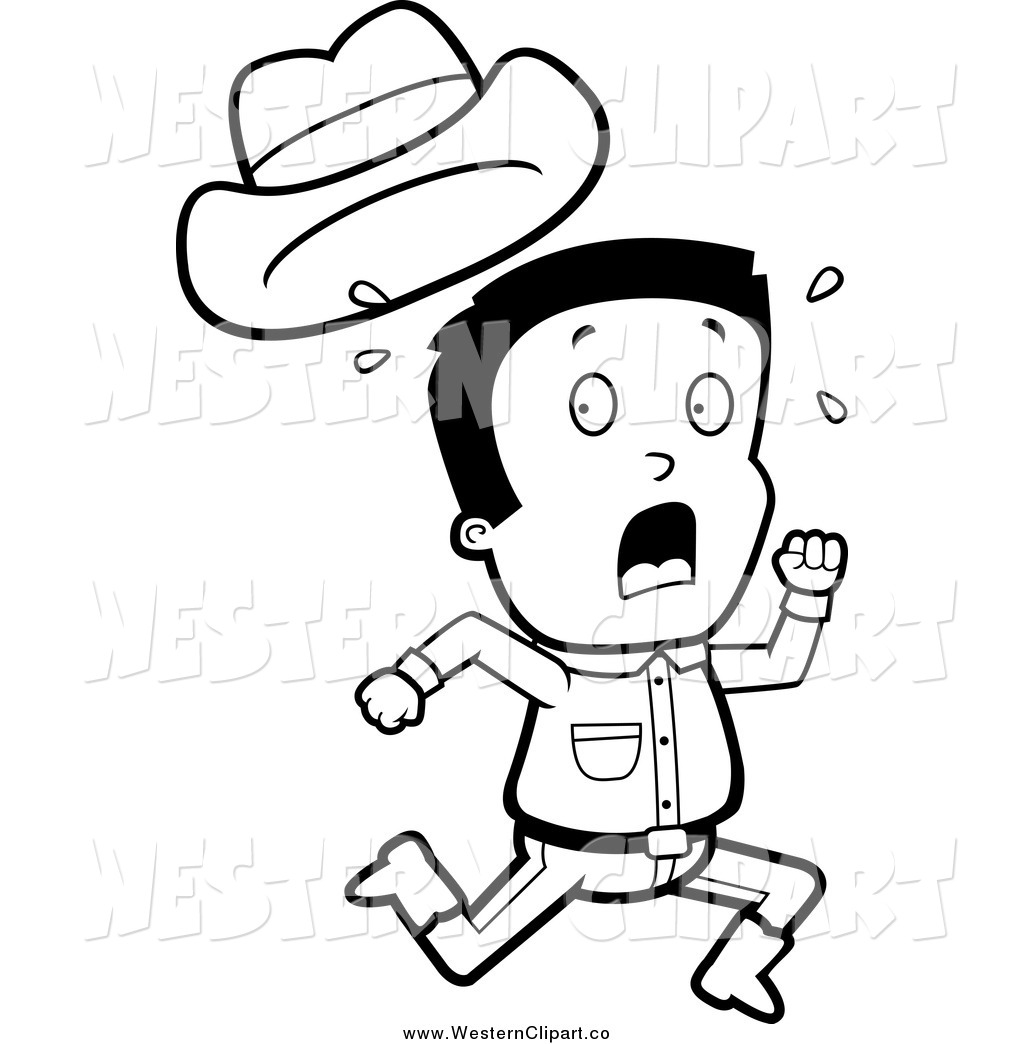 1024x1044 Vector Clip Art Of A Black And White Screaming Cowboy Losing His