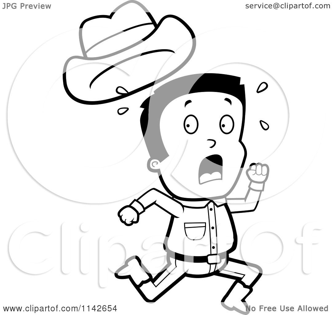 1080x1024 Cartoon Clipart Of A Black And White Scared Cowboy Losing His Hat