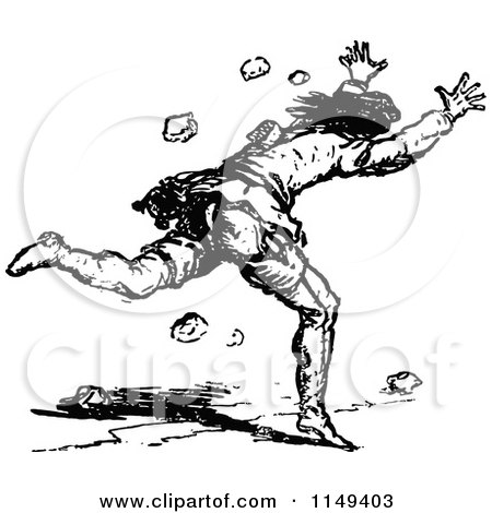 450x470 Clipart Of A Retro Vintage Black And White Man Running Away