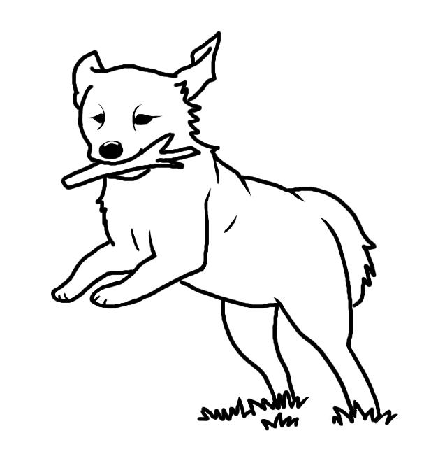 607x649 Running Dog Lineart By Blakperl