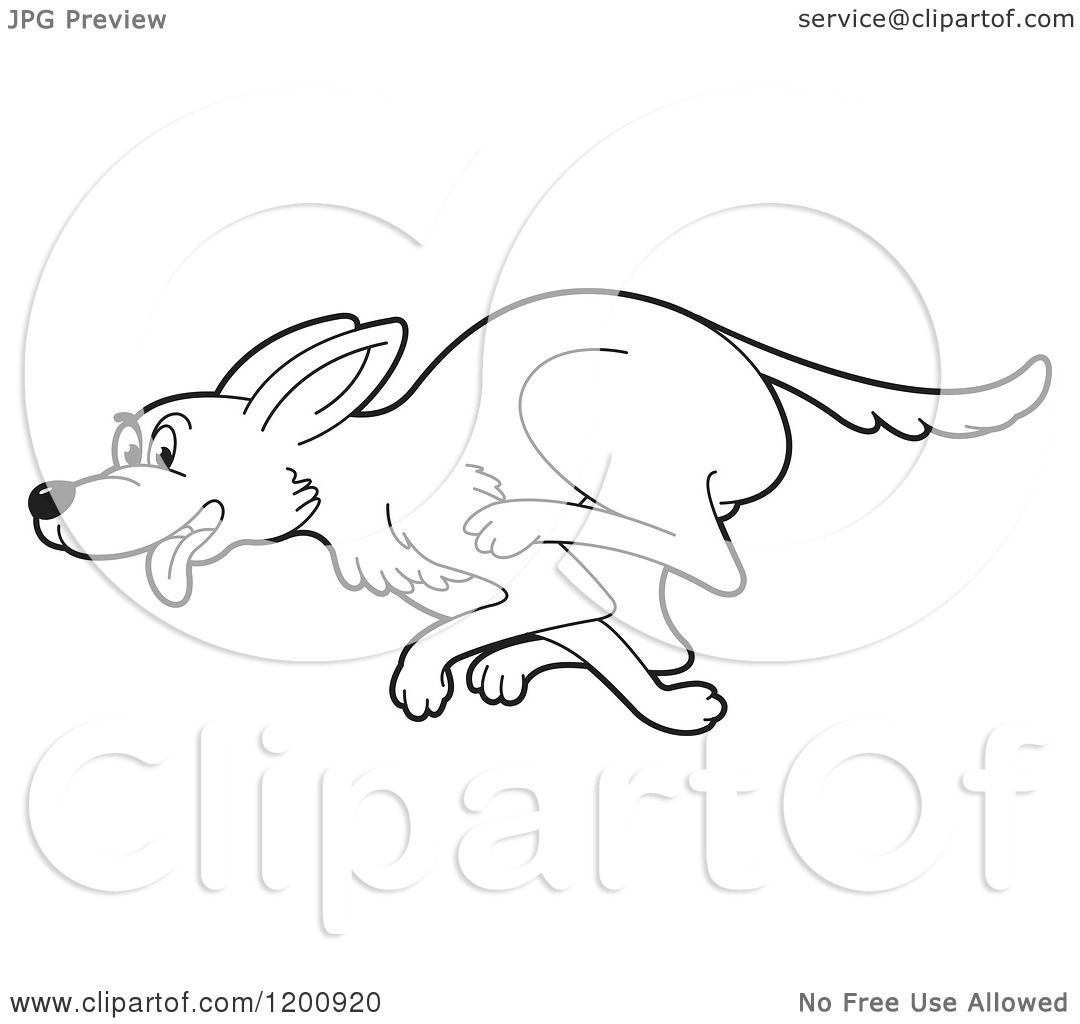 1080x1024 Cartoon Of A Black And White Outlined Running Dog