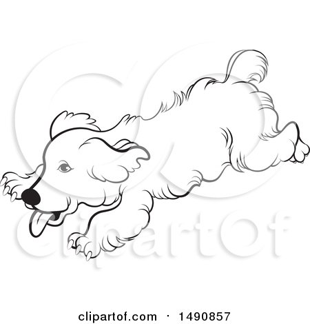 450x470 Clipart Of A Black And White Playful Running Dog
