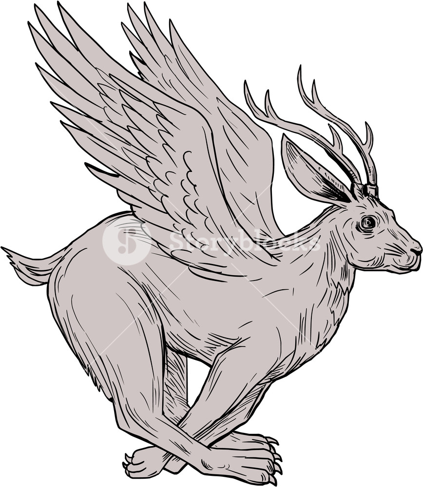 868x1000 Drawing Sketch Style Illustration Of A Wolpertinger, In Bavarian