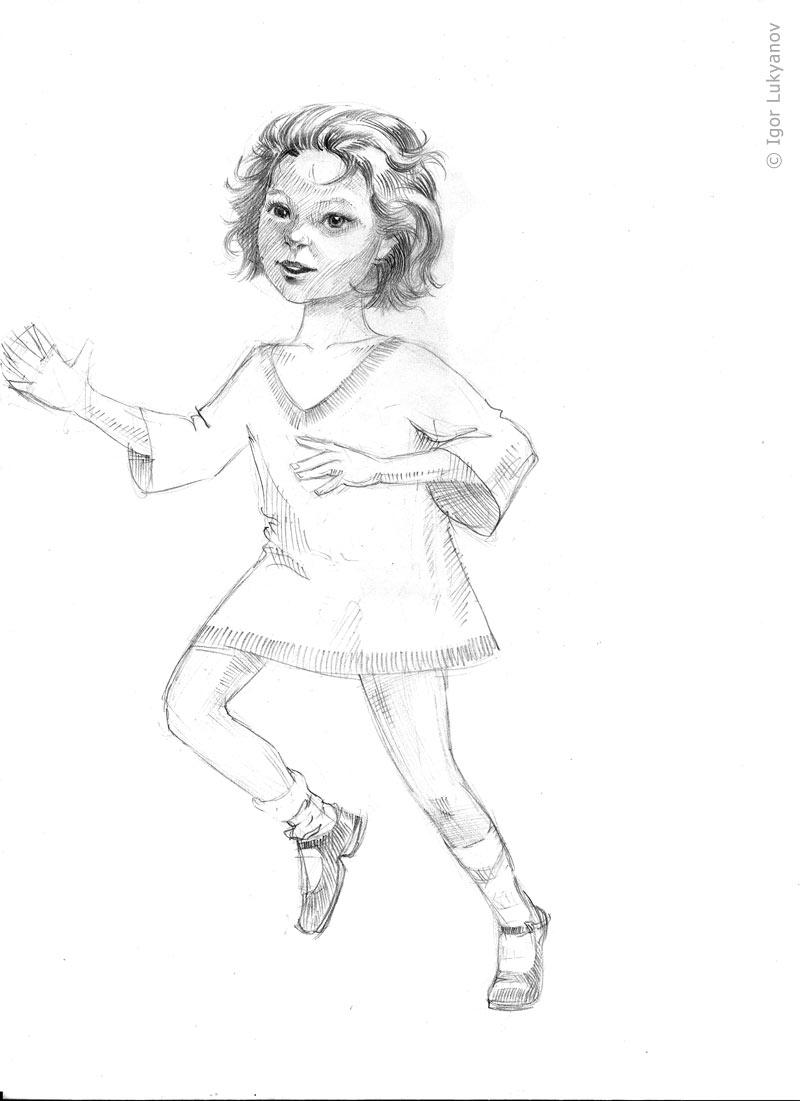 800x1101 Running Girl Sketch