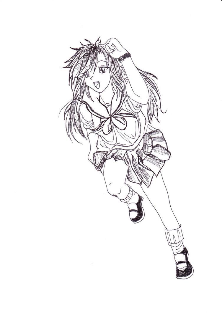 752x1063 Anime Girl Running By Yuzuki Mori