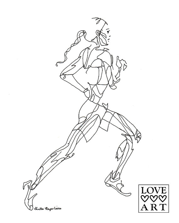 570x713 Art Print Of Line Drawing Running Girl From The Side
