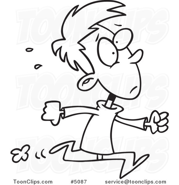 581x600 Cartoon Black And White Line Drawing Of A Late Boy Running