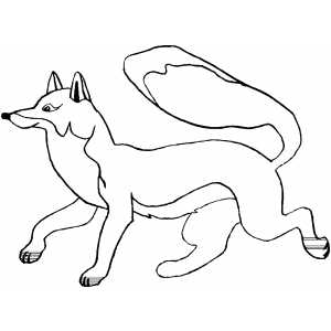 300x300 Happy Running Fox Coloring Page