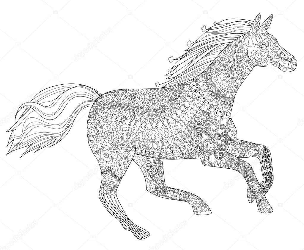 1023x839 Running Horse With High Details Stock Vector Lezhepyoka