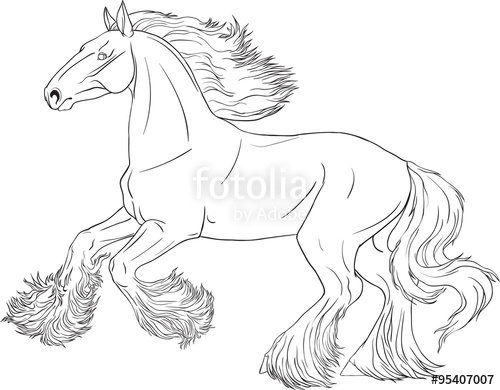 500x390 Coloring Book With Running Horse Shire Stock Image And Royalty