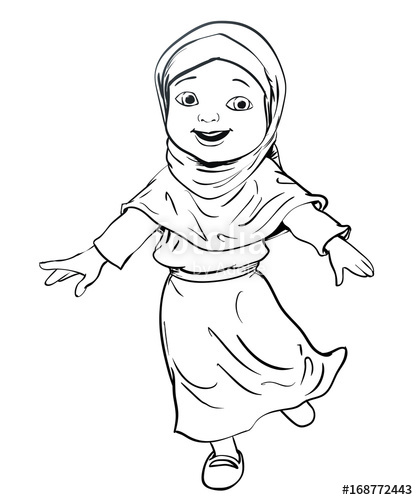 418x500 Hand Drawing Of Muslim Girl Make Running Vector Illustration
