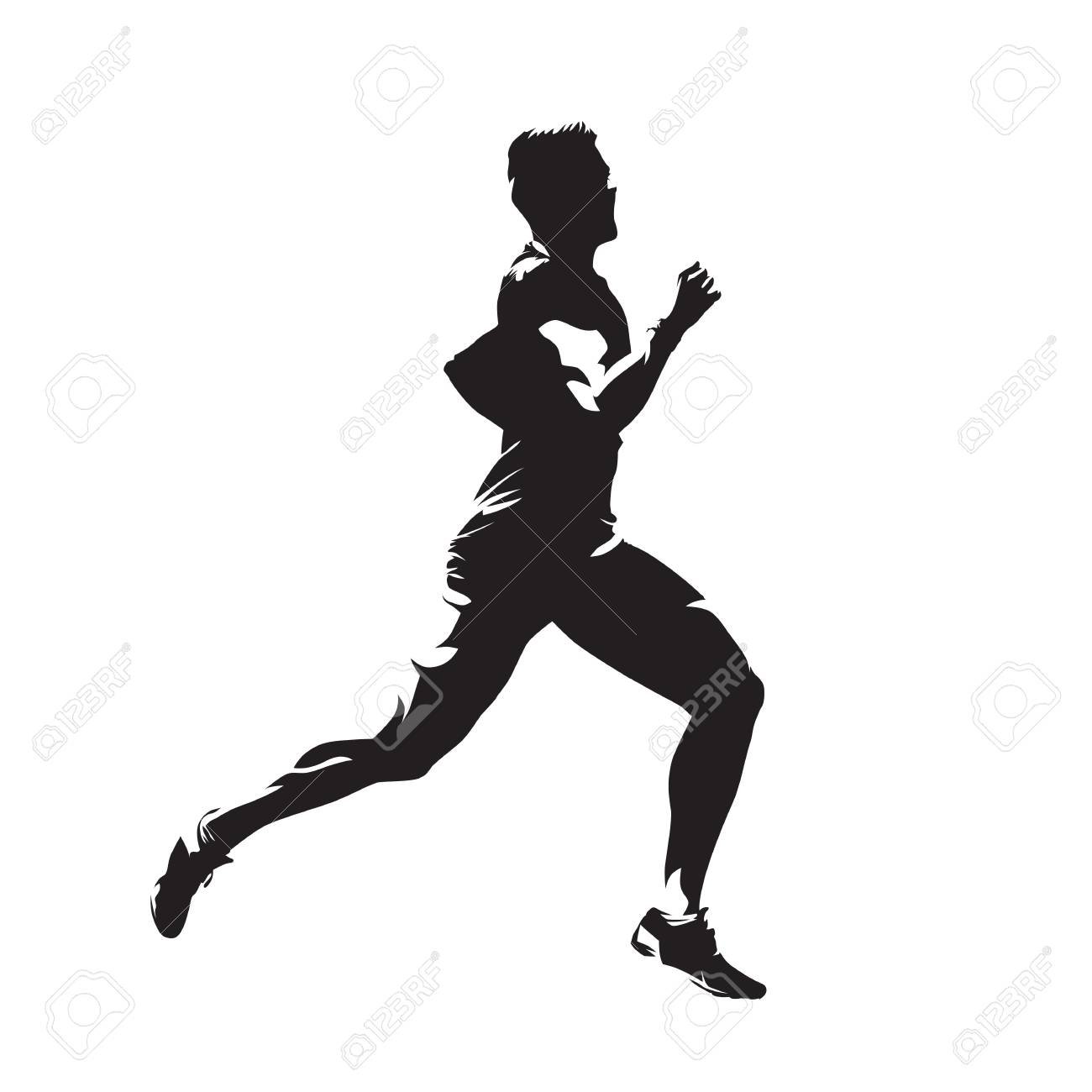 1300x1300 Running Man, Abstract Vector Isolated Silhouette. Side View