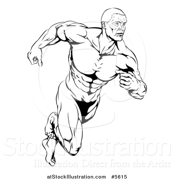 600x620 Vector Illustration Of A Black And White Running Muscular Man By