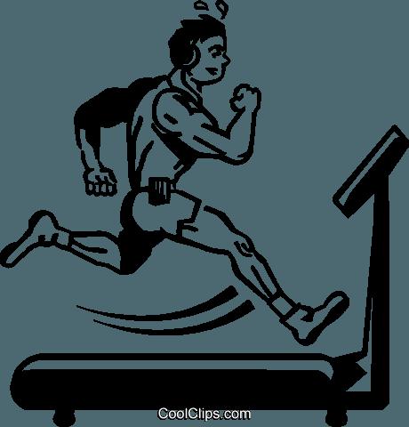 460x480 Person Running On A Treadmill Royalty Free Vector Clip Art