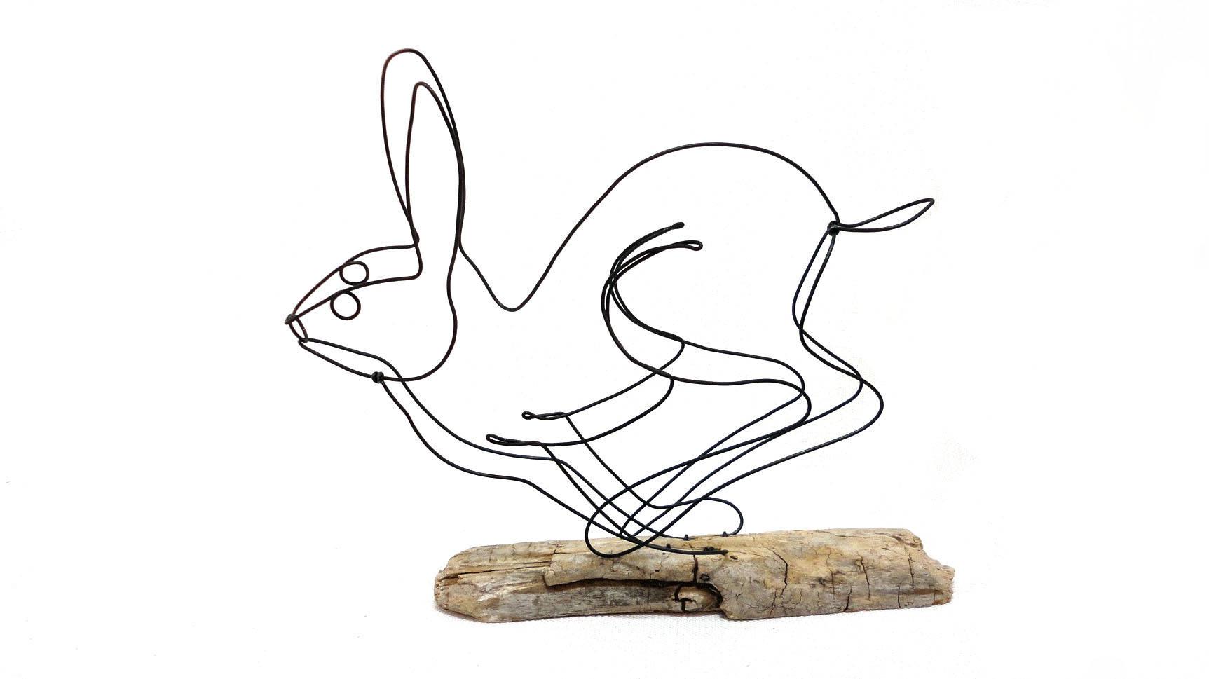 1725x969 Running Rabbit Wire Sculpture Hare Wire Sculpture Bunny Art