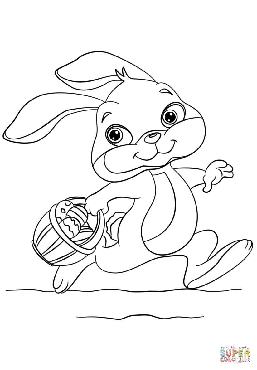 824x1186 Bunny Running With Easter Eggs In A Basket Coloring Page Free