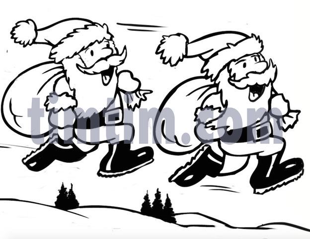 624x480 Free Drawing Of A Santa Sack Race Bw From The Category Christmas