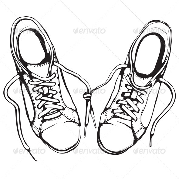 590x590 Shabby Running Shoes In Black Ink By Popmarleo Graphicriver