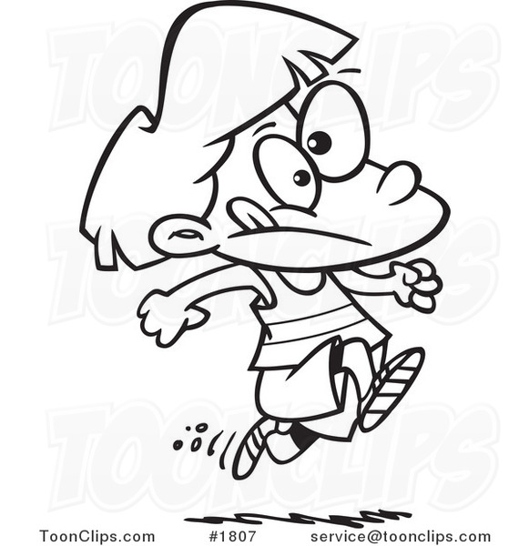 581x600 Cartoon Black And White Line Drawing Of A Girl Running Track