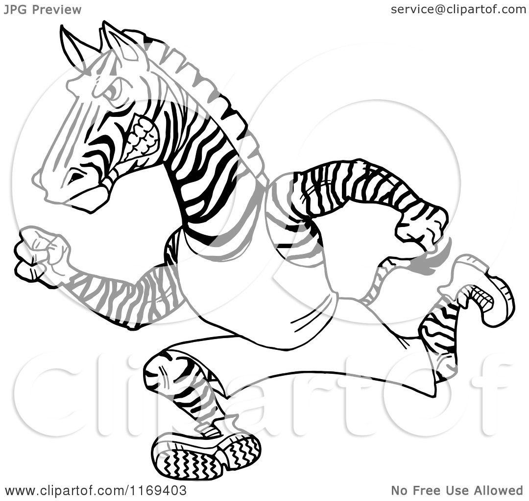 1080x1024 Cartoon Of A Black And White Running Track And Field Zebra Mascot