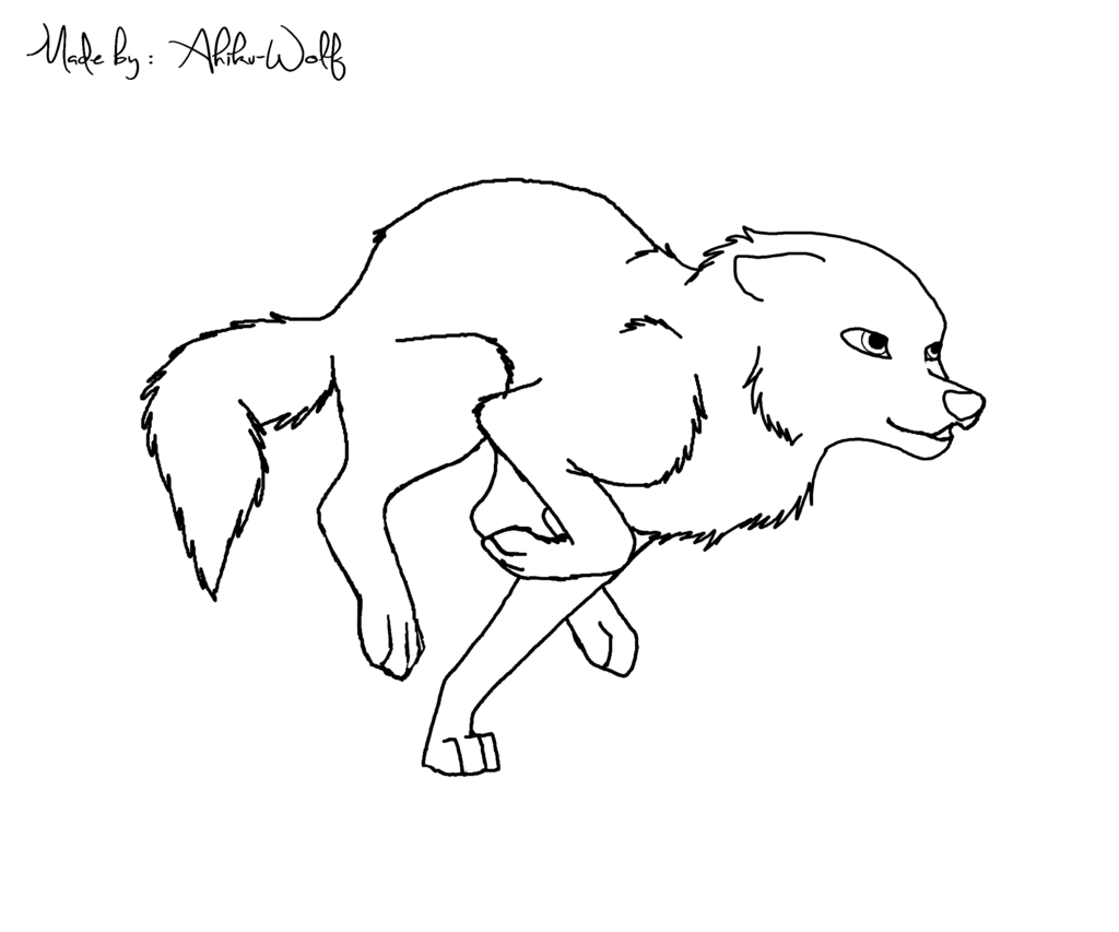 1024x853 Running Wolf Lineart Free By Ahikuwolf