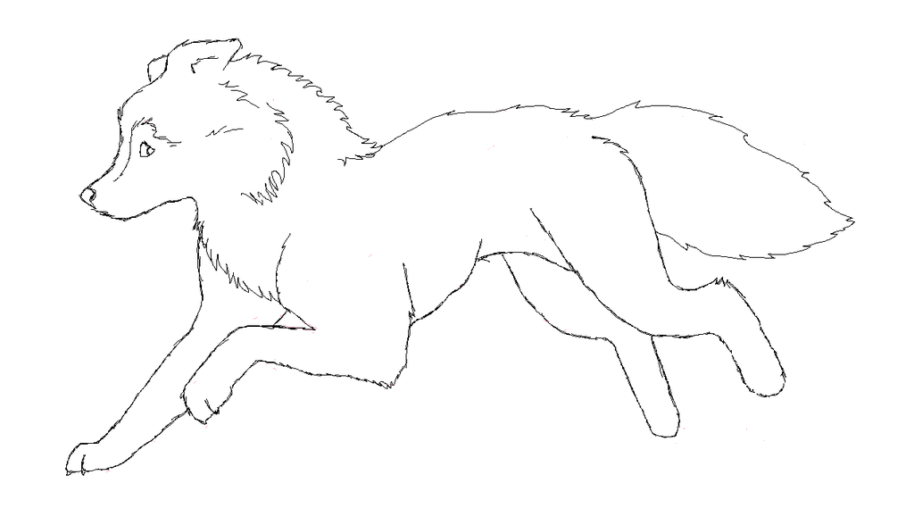 1024x588 Running Wolf Lineart By Scarykiwi