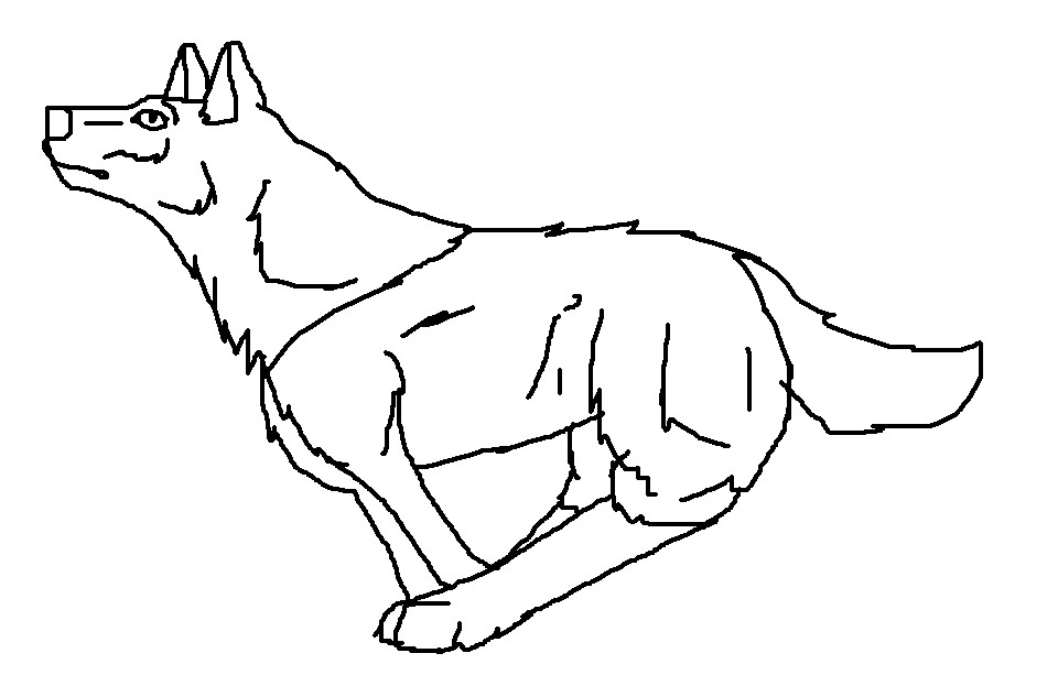 960x613 Anime Wolf Pup Running Lineart By Baltobud8
