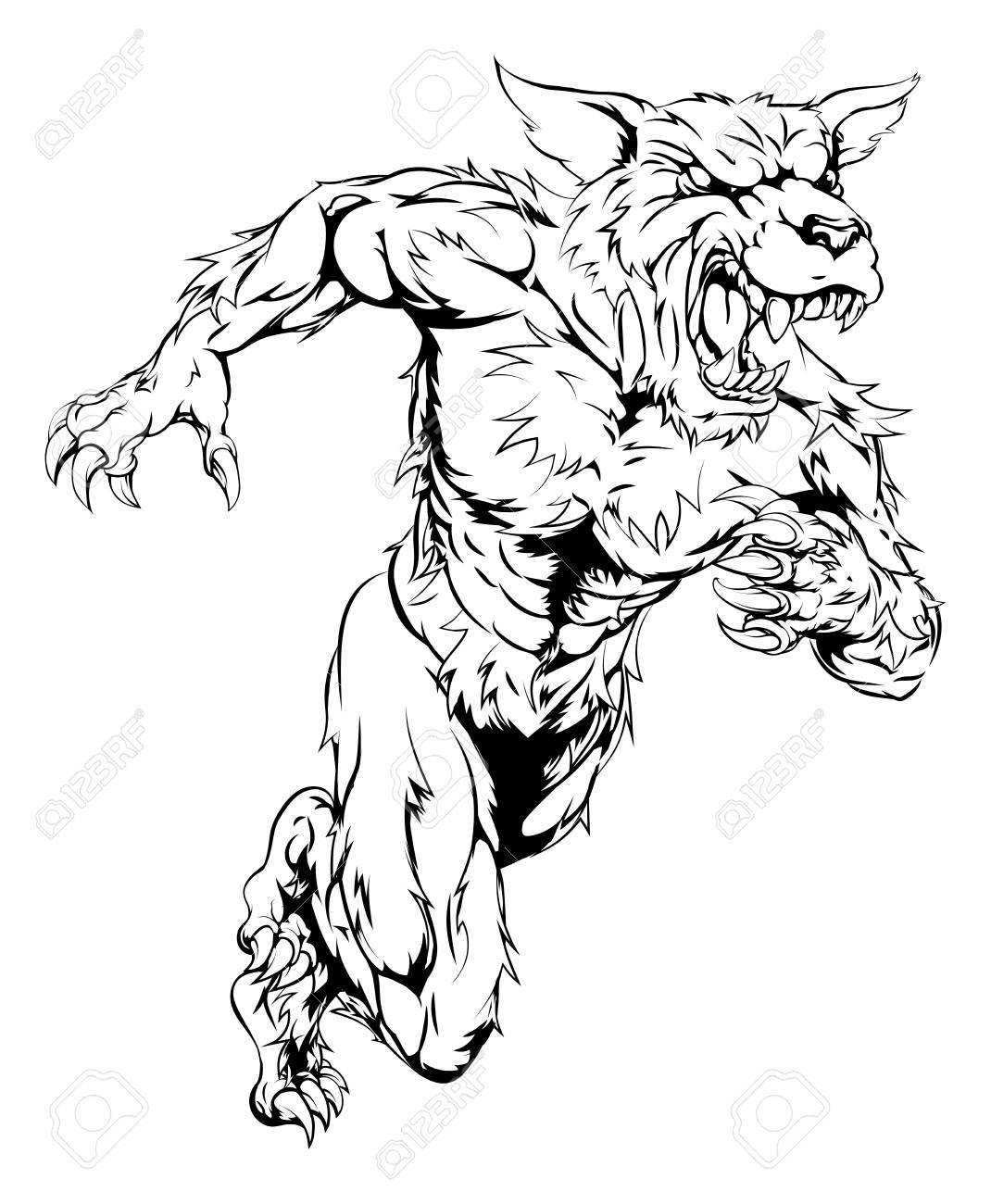 1070x1300 An Illustration Of A Sprinting Running Wolf Or Werewolf Character