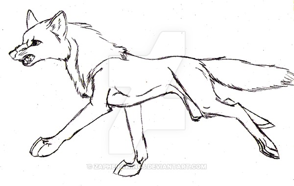 600x379 Running Wolf Uncolored By Zapherawings