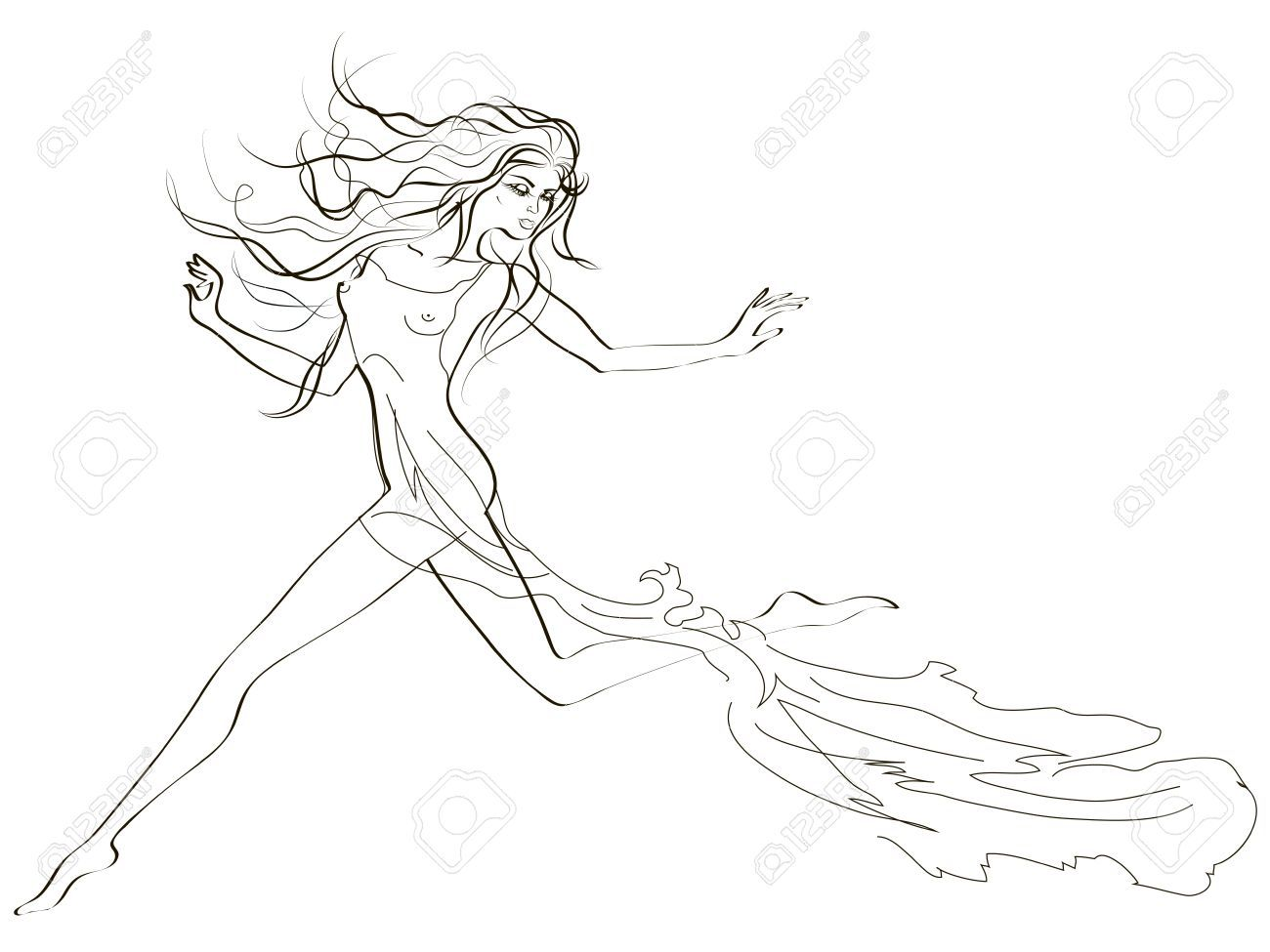 Running Woman Drawing