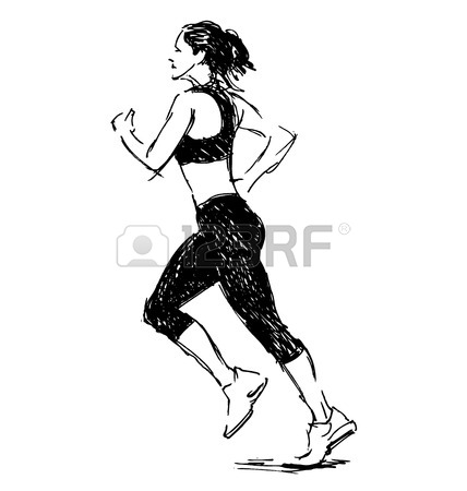 428x450 Hand Drawing Silhouette Of Running Woman. Vector Illustration