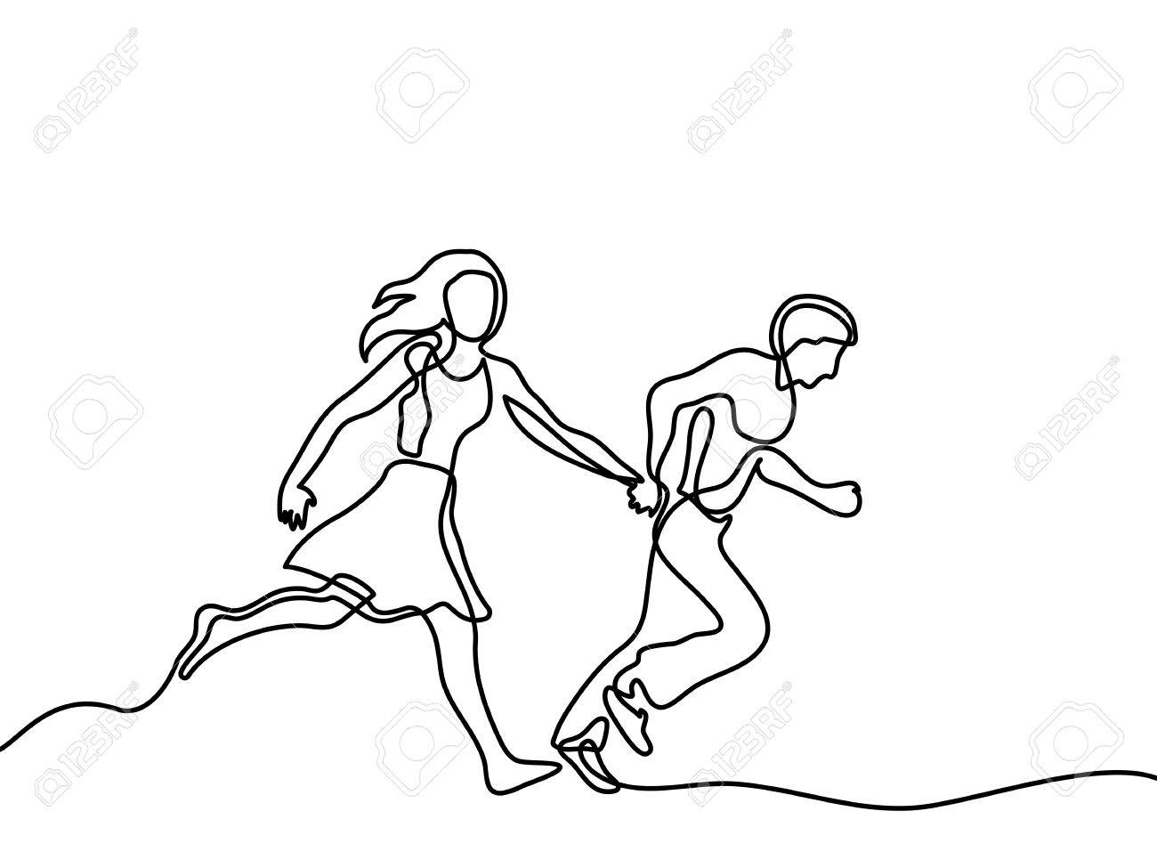 1300x975 Happy Running Couple. Continuous Line Drawing. Vector Illustration
